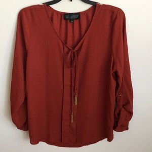 Sweet Wanderer Burnt Orange 3/4 Sleeve Blouse SzL